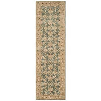 Antiquity Teal Blue/Taupe 2 ft. x 6 ft. Runner