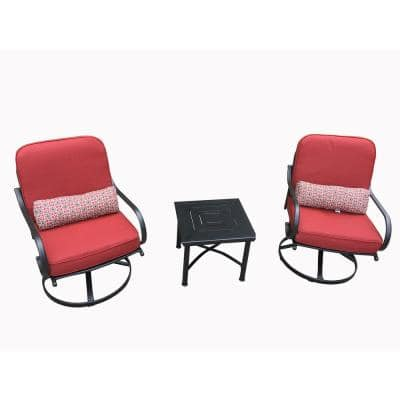 Alicia 3-Piece Metal Patio Outdoor Dining Set with Red Cushions
