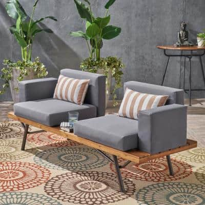 Canoga Teak Finish Wood Outdoor Sofa with Dark Gray Cushions