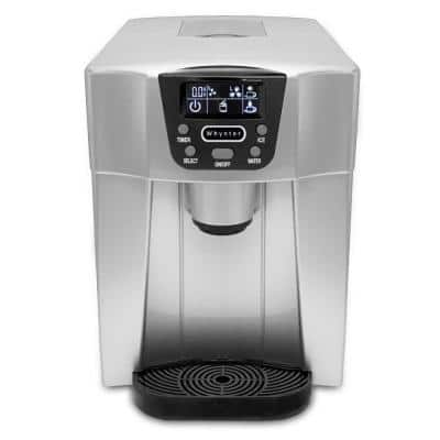 26 lbs. Countertop Direct Connection Freestanding Ice Maker and Water Dispenser in Silver