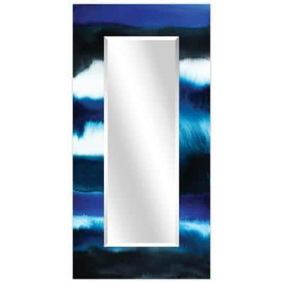72 in. x 36 in. Run Off II Rectangle Framed Printed Tempered Art Glass Beveled Accent Mirror