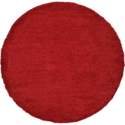 Solid Shag Cherry Red 8 ft. Round Area Rug