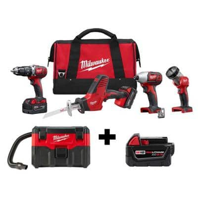 M18 18-Volt Lithium-Ion Cordless Combo Tool Kit (4-Tool) w/ Wet/Dry Vacuum and Additional 5.0Ah Battery