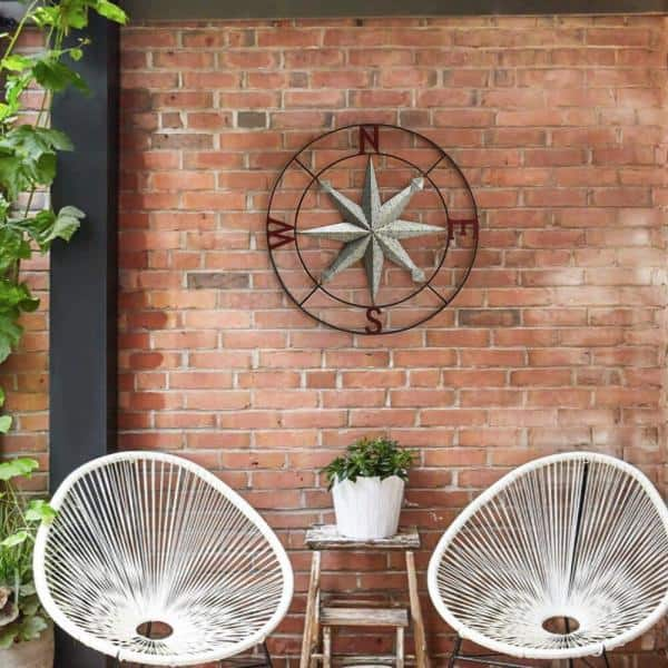Sunjoy Hedgehog 2 Tone Vintage Copper Compass Wall Decor With Screw Hanger D110008100 The Home Depot