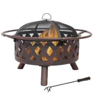 Cross Weave 30 in. x 20 in. Round Bronze Wood Burning Fire Pit with Steel Spark Screen