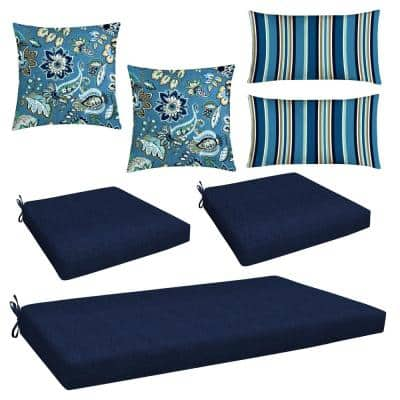 Navy 7-Piece Outdoor Mix and Match Wicker Lounge Chair Cushion Set