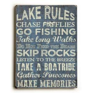 9 in. x 12 in. ''Lake Rules'' by ArtLicensing Solid Wood Wall Art