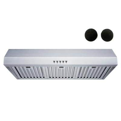 30 in. Convertible 480 CFM Under Cabinet Range Hood in Stainless Steel with Baffle and Charcoal Filters