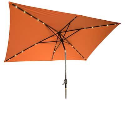 10 ft. x 6.5 ft. Rectangular Solar Powered LED Lighted Patio Umbrella in Orange