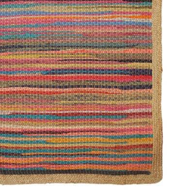 Accent Multi-Color 2 ft. x 3 ft. Striped Cotton/Jute Braided Border Area Rug