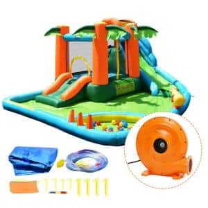 Inflatable Bounce House Jump Bouncer Green Kids Water Park Splash Play Center with Blower