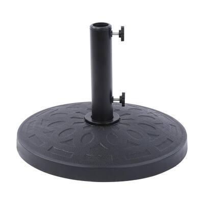 BELAVILLE Round Resin Free Standing Market Patio Umbrella Base with Base Pattern in Black