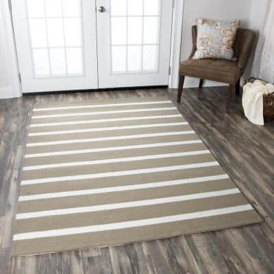 Azzura Hill Taupe Striped 8 ft. x 8 ft. Round Outdoor Area Rug