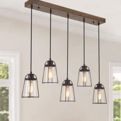 Linear Farmhouse Chandelier, 5-Light Rust Bronze Large Adjustable Glass Island Pendant Light with Painted Wood Accents
