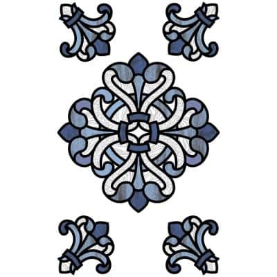 Blue Medici Stained Glass Decal (Set of 2)