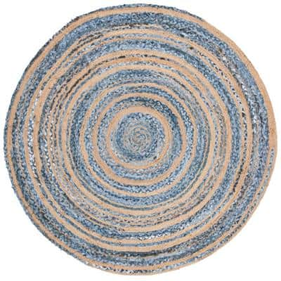 Cape Cod Blue/Natural 6 ft. x 6 ft. Round Distressed Striped Area Rug