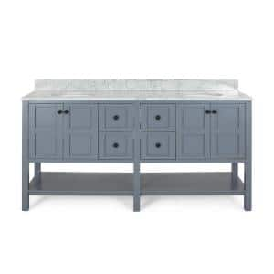 Jaeden 72 in. W x 22 in. D Bath Vanity with Carrara Marble Vanity Top in Grey with White Basin