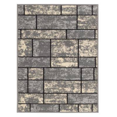 Ottohome Collection Contemporary Boxes Design Gray 2 ft. 3 in. x 3 ft. Area Rug