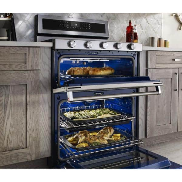 Kitchenaid 6 7 Cu Ft Double Oven Dual Fuel Gas Range With Self Cleaning Convection Oven In Stainless Steel Kfdd500ess The Home Depot