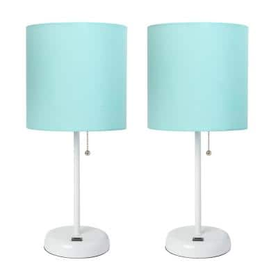 19.5 in. White Stick Lamp with USB Charging Port and Fabric Shade, Aqua (2-Pack Set)