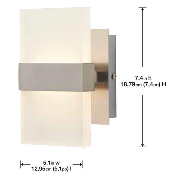 Home Decorators Collection Alberson 5 In Brushed Nickel 2 Light Led Sconce 28616 Hbur The Home Depot