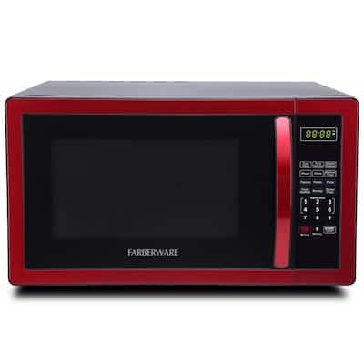 1.1 cu. Ft. 1000-Watt Countertop Microwave Oven in Metallic Red