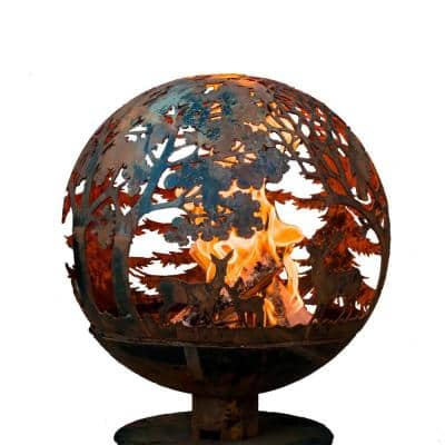 Wildlife 24 in. x 28 in. Round Steel Wood Burning Fire Pit in Rust