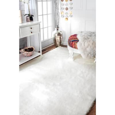 Cloud Faux Sheepskin Plush Shag Ivory 8 ft. x 10 ft. Area Rug