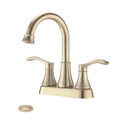 Spout 4 in. Centerset Double Handle High Arc Bathroom Faucet with Drain in Brushed Gold