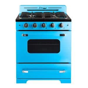 Classic Retro 30 in. 3.9 cu. ft. Retro Gas Range with Convection Oven in Robin Egg Blue