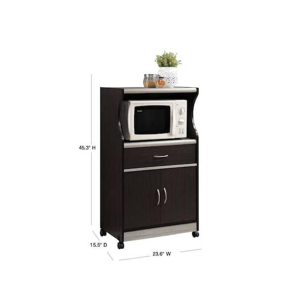 Hodedah Grey Microwave Cart With