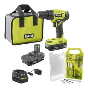 ONE+ 18V Cordless 1/2 in. Drill Driver Kit with (2) 1.5 Ah Batteries, Charger, and Bag with 31-Piece Drill and Drive Kit