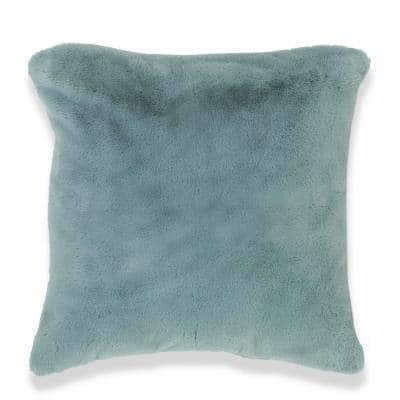 Piper Soft Blue Faux Rabbit Fur Polyester Fill 20 in. x 20 in. Throw Pillow