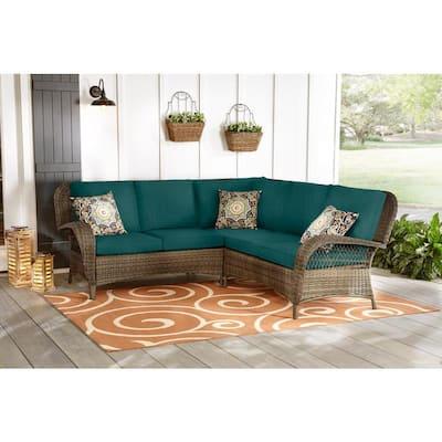 Beacon Park 3-Piece Brown Wicker Outdoor Patio Sectional Sofa with CushionGuard Malachite Green Cushions