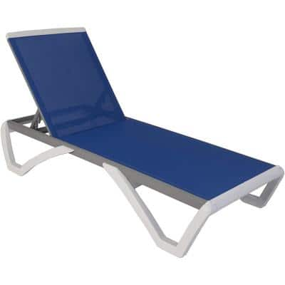 Full Flat Aluminum Outdoor Patio Reclining Adjustable Chaise Lounge Blue Textilence without Table