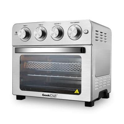 24 Qt. Silver Stainless Steel Air Fryer Toaster Oven with Roast, Bake, Broil, Reheat, Accessories and Cookbook Included