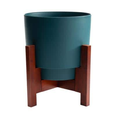 Hopson Large 16 in. Charleston Green Plastic Planter with Wood Stand