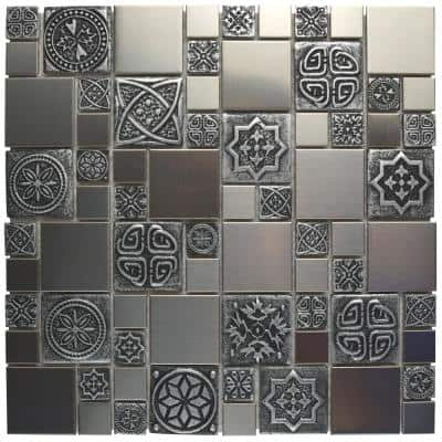 Take Home Tile Sample - Meta Versailles Stainless Steel Metal Over Ceramic Mosaic - 6 in. x 6 in.