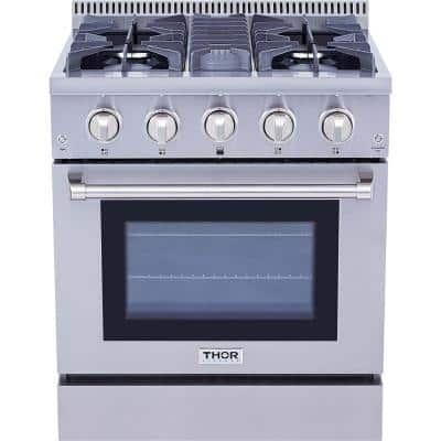 Pre-Converted Propane 30 in. 4.2 cu. ft. Dual Fuel Range in Stainless Steel