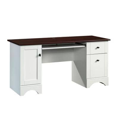 59.449 in. Rectangle Soft White Computer Desk with File Storage
