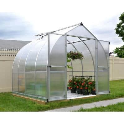 Bella 8 ft. x 8 ft. Silver Polycarbonate Greenhouse