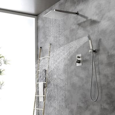 1-Spray Patterns 3.8 GPM 12 in. Wall Mounted Dual Shower Heads with Rough-In Valve Body and Trim in Brushed Nickel