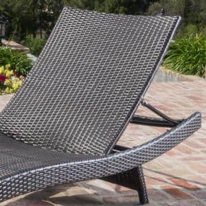 Miller Multi-Brown Armless Wicker Outdoor Chaise Lounge with Orange Cushion