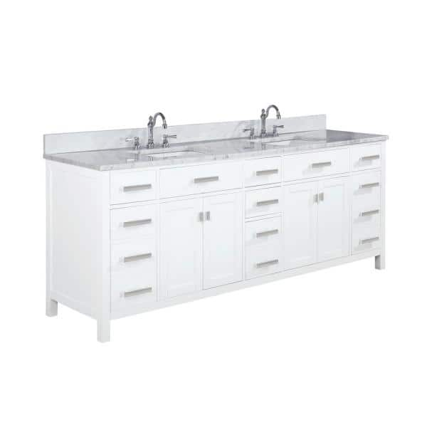 Design Element Valentino 84 In W X 22 In D Bath Vanity In White With Quartz Vanity Top In White With White Basin V01 84 Wt The Home Depot