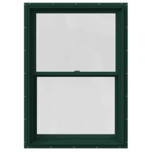 29.375 in. x 48 in. W-2500 Series Green Painted Clad Wood Double Hung Window w/ Natural Interior and Screen