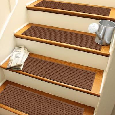 Aqua Shield Squares 8.5 in. x 30 in. Stair Treads (Set of 4) Dark Brown