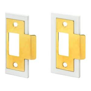 1-3/8 in. and 1-3/4 in., Fix-A-Latch Strike Plate Repair Kit, Stamped Steel, Brass Plated Finish, White Plastic Base