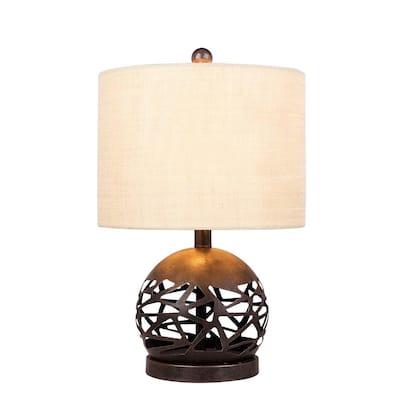 19.5 in. Brown Rustic Cage Cut Metal Table Lamp