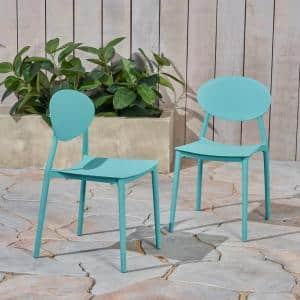 Westlake Teal Armless Plastic Outdoor Dining Chairs (2-Pack)