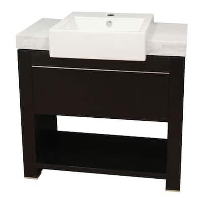 Kinley 36 in. W x 20 in. D x 36 in. H Single Vanity in Black Oak with Marble Vanity Top in White with White Basin